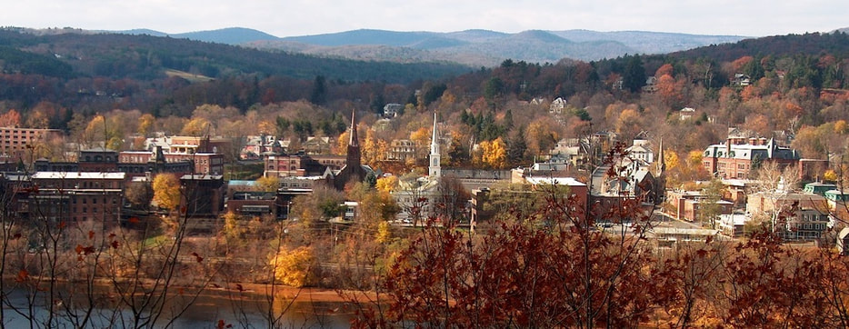 Brattleboro downtown with Connecticut River in foreground